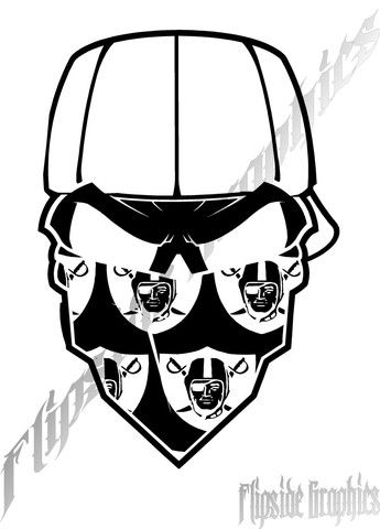Oakland Raiders Decal Bandana Custom Windows Cars Trucks Tailgates