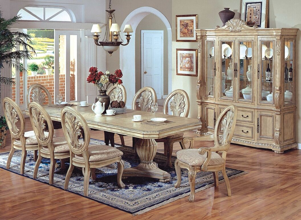 Antique White Dining Room 7 Pc Hampton Ii Antique White Wash Finish Wood Double Pedestal