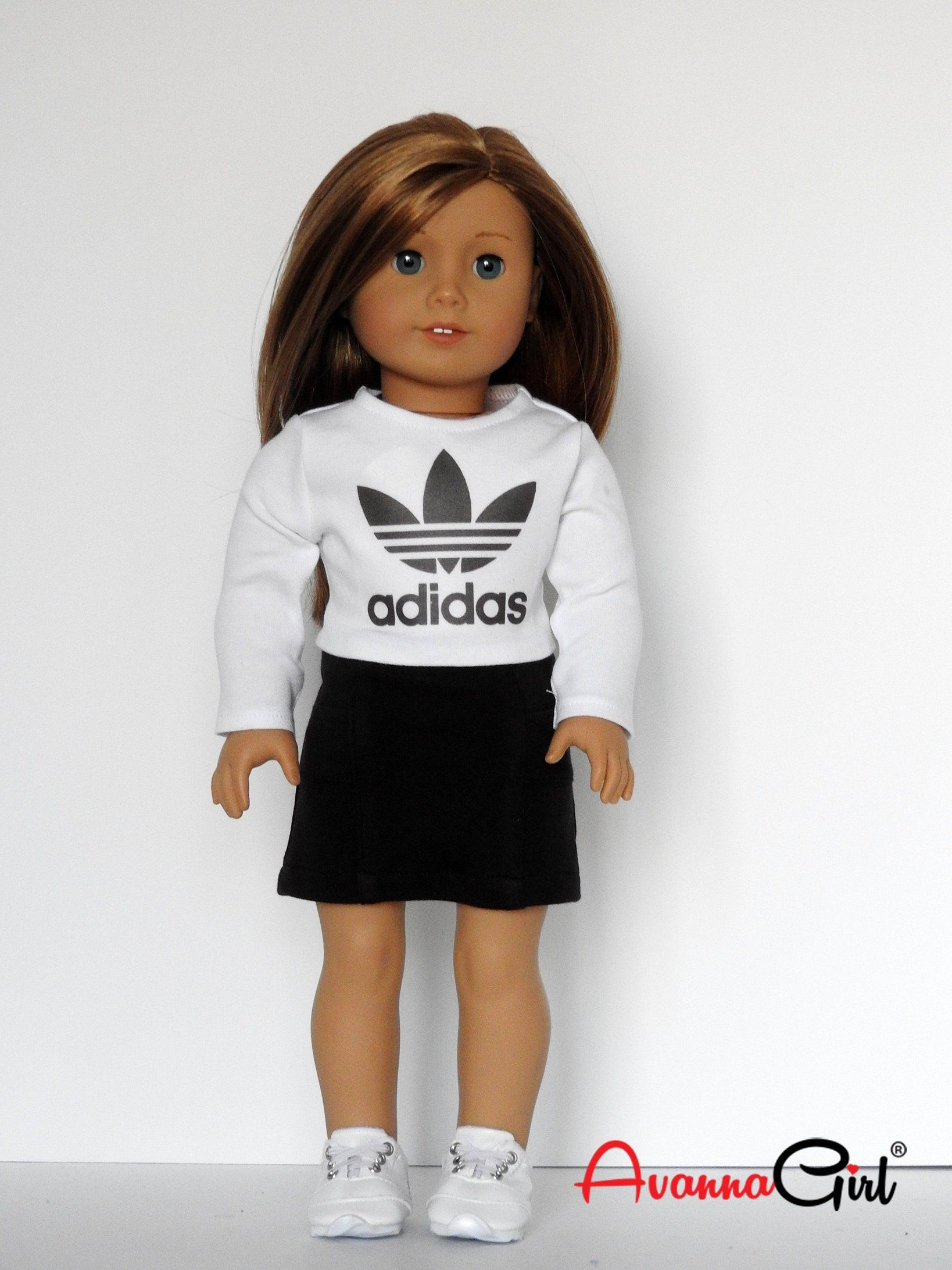 AG Doll Adidas Cropped T-Shirt and Active Wear Skirt - fits American Girl Doll - 18 Inch Dolls by AvannaGirl on Etsy #americangirldollcrafts