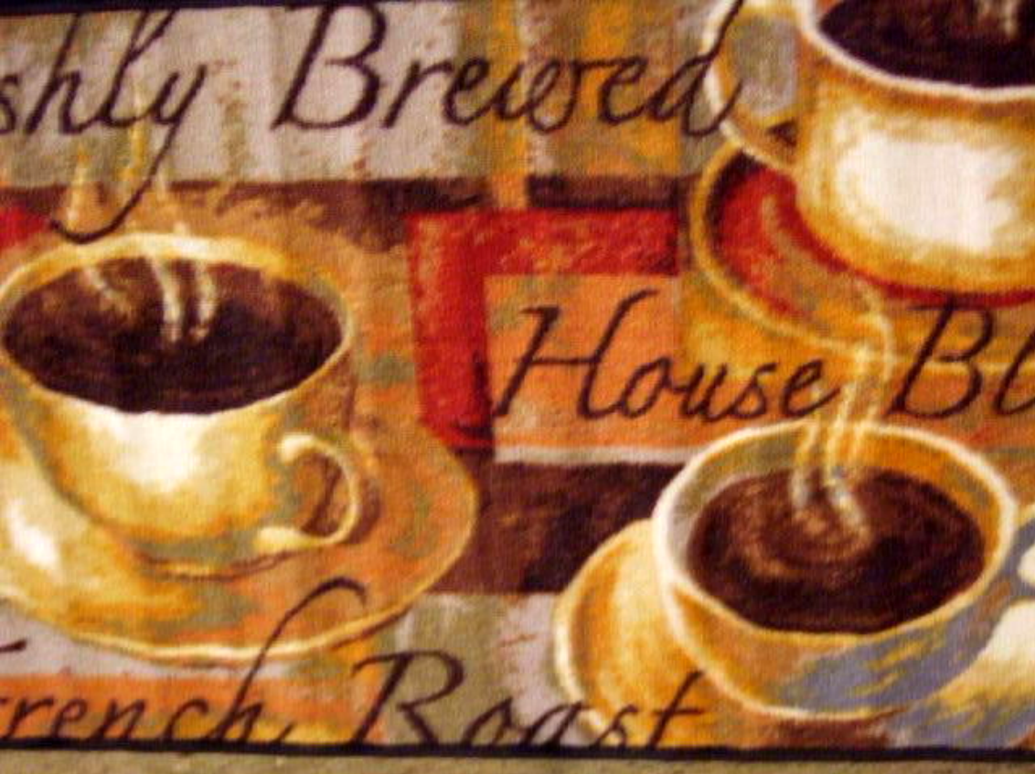 Decorate Your Coffee Themed Kitchen With This Rug That Feature Cups And Done In Browns