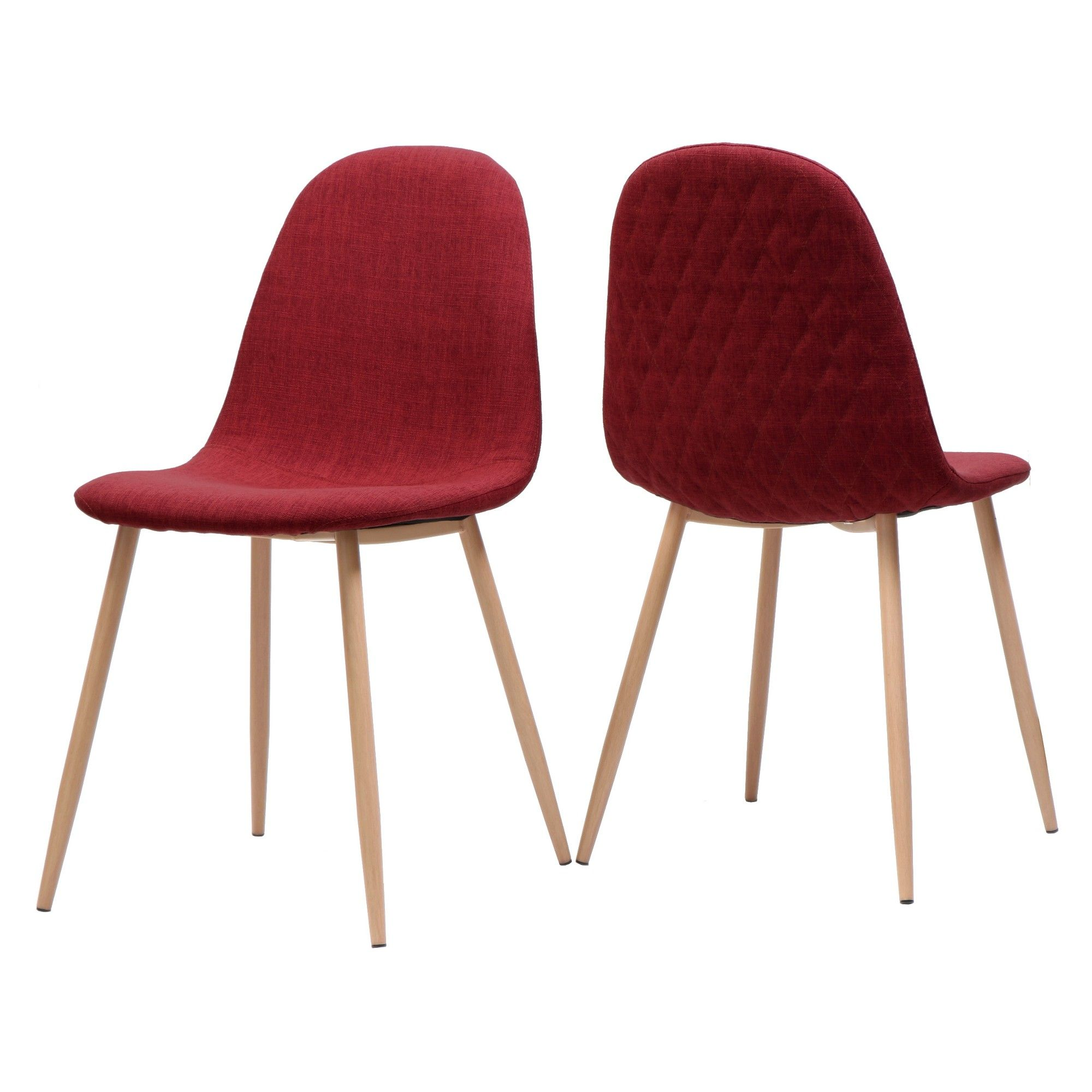 Set Of 2 Caden Mid Century Dining Chair Red Christopher Knight