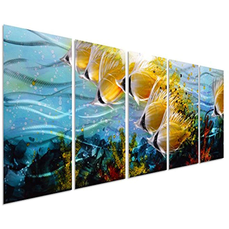 Blue tropical school of fish metal wall art large metal wall art in