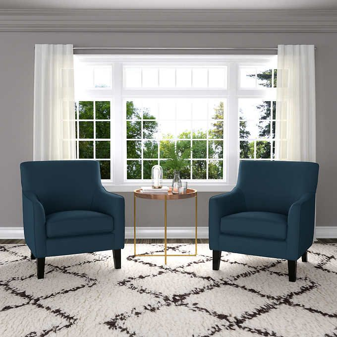 Yuri Fabric Accent Chair 2 Pack Blue Blue Chairs Living Room Accent Chairs For Living Room Accent Chairs #set #of #two #living #room #chairs