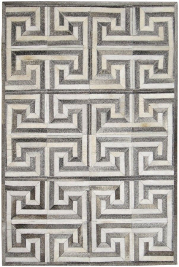 This Gray And White Greek Key Rug Is Comprised Of Charcoal Cowhides That Are Sewn Into The Pattern Please Contact Us At Info Dallasrugs