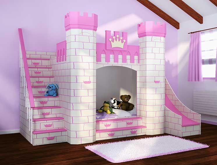 Dormitorio castillo princesas cuarto de juego camas - Camas infantiles de princesas ...