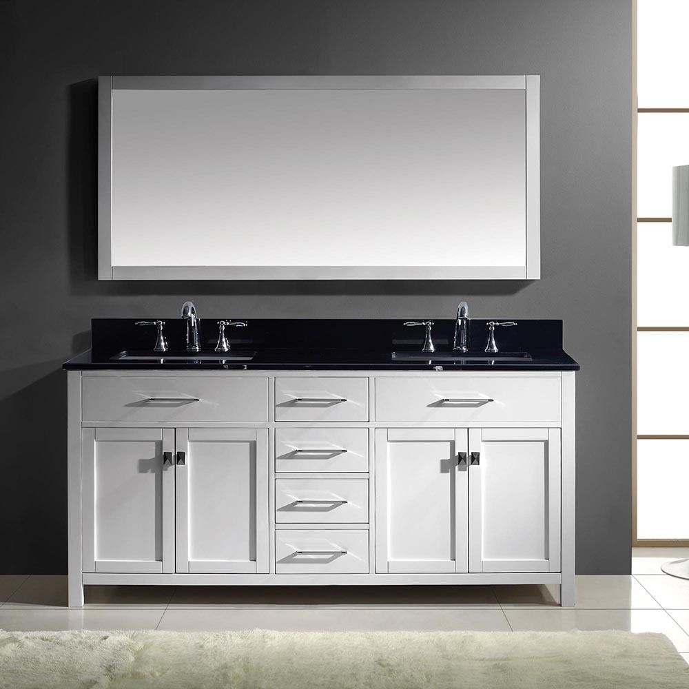 Virtu USA Caroline 72-inch Double Bathroom Vanity Cabinet Set in ...