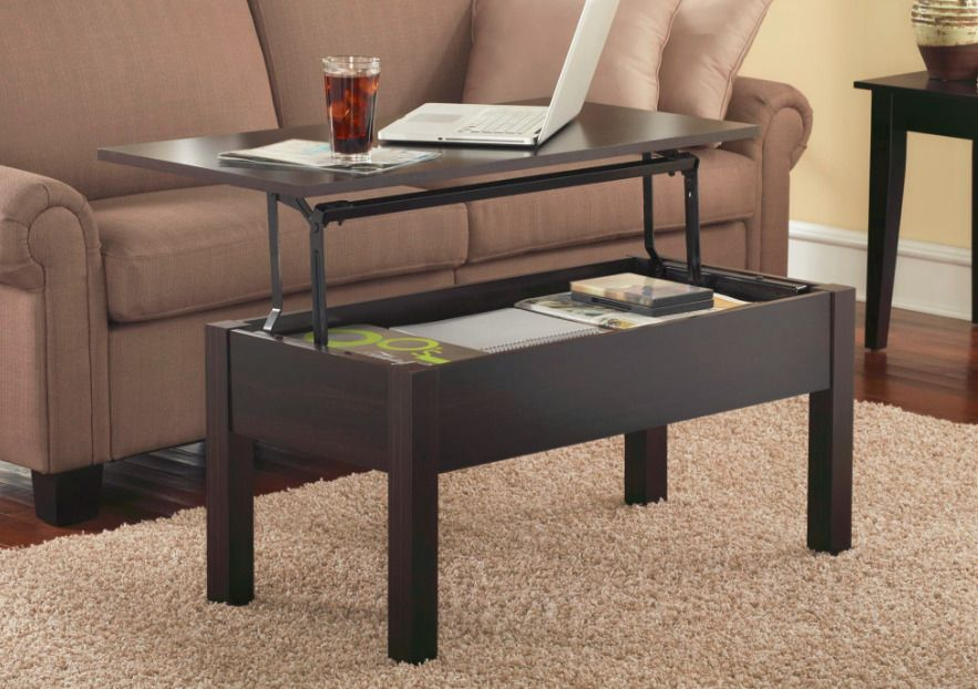 Lift Top Coffee Table Storage Cocktail Pop Up Workstation