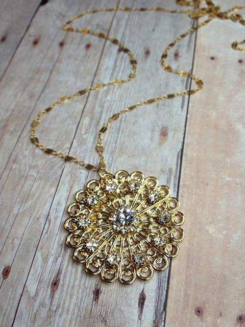 Long Filigree and Crystal Gold Necklace by JewelryMadebyMaggie, $77.00