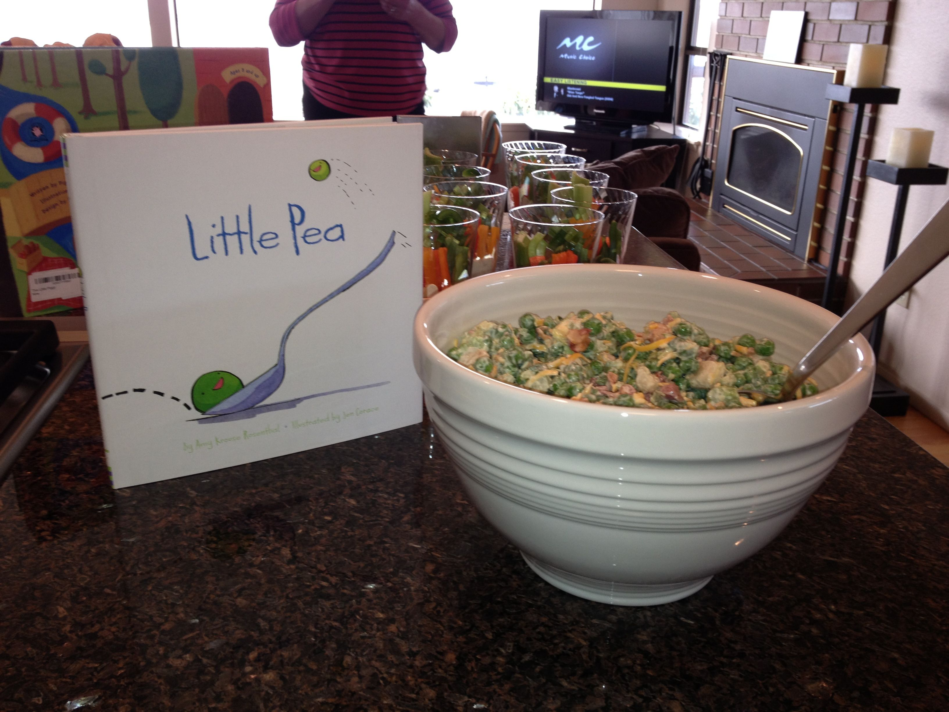 Storybook theme baby shower food- pea salad