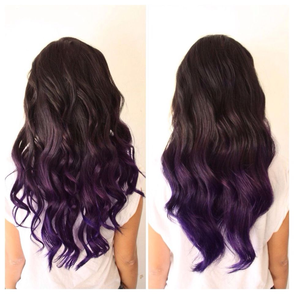 Don T Want All The Ends Purple Or A Straight Line Where The Color Changes Purple Ombre Hair Dipped Hair Dark Purple Hair