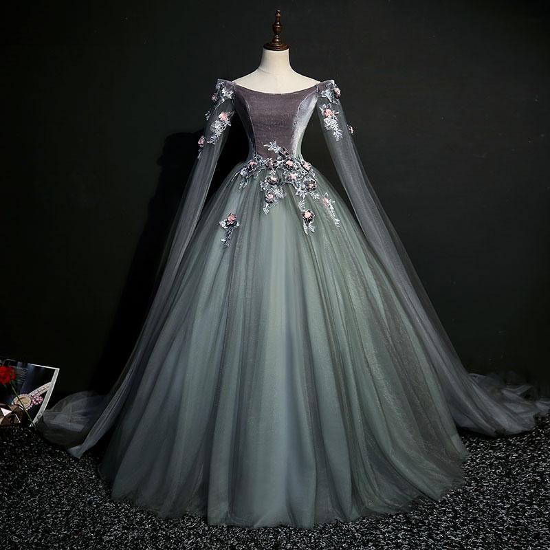 Dark Grey 18th Century Inspired Rococo Gown #masqueradeballgowns