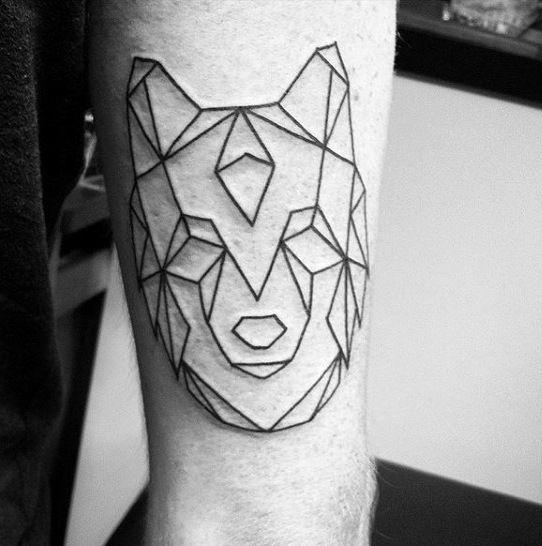 simple geometric wolf black ink outline deisgn male tattoo ideas rh pinterest co uk simple wolf outline tattoo small wolf outline tattoo