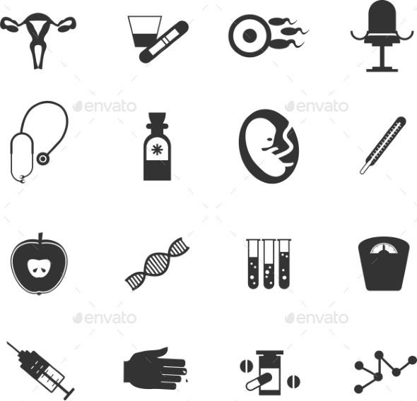 set of medical icons gynecological executed in flat style