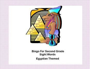 Bingo Game Sight Words for Second Grade- Ancient Egyptian Theme Your students will enjoy this game and the graphics as a different way to practice reading these sight words.   This colorful Ancient Egyptian themed Bingo game can be printed on heavy cardst