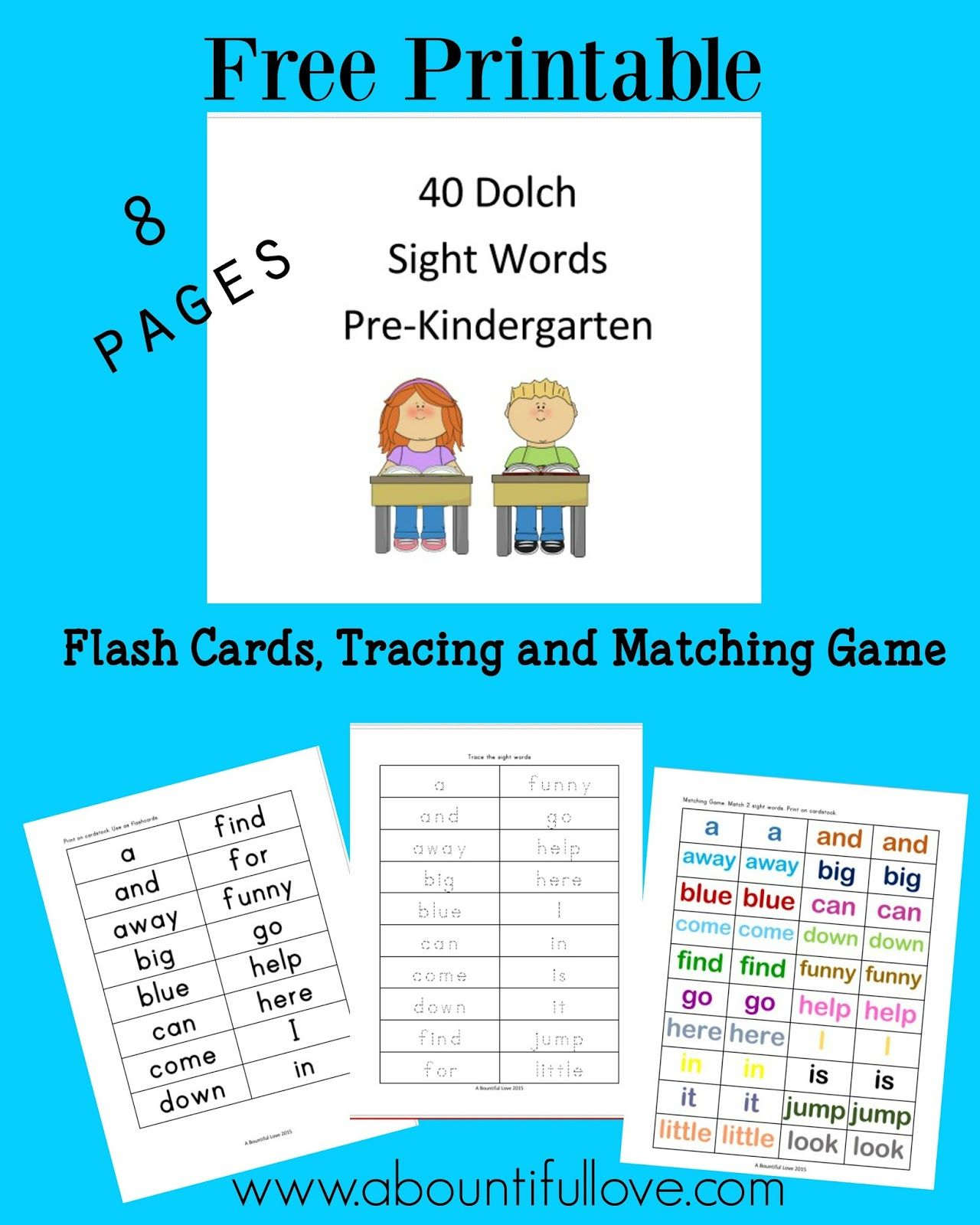 Worksheet Kindergarten Sight Words Printable Flash Cards 40 dolch sight words for pre kindergarten kindergarten