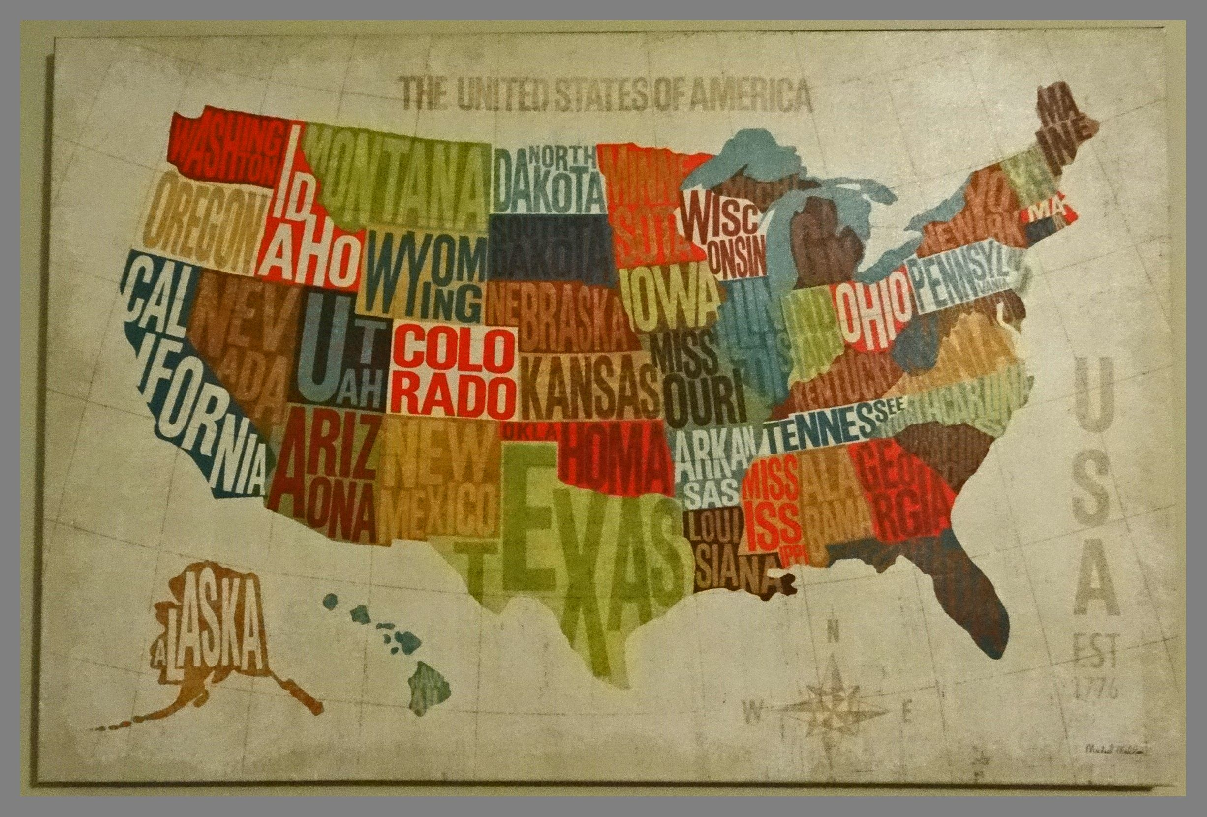 Stretched Canvas United States Map We Actually Bought This One At Hobby Lobby