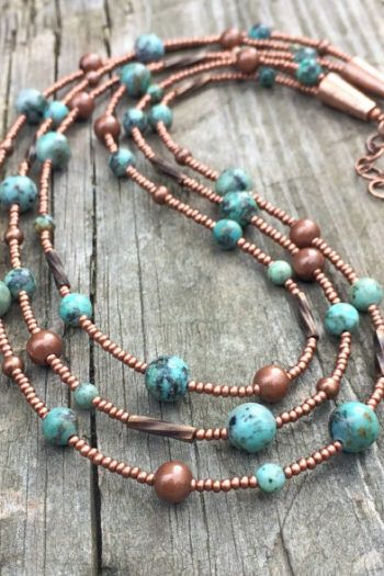 Photo of For Sale: Turquoise Necklace Turquoise Beaded Necklace Copper…