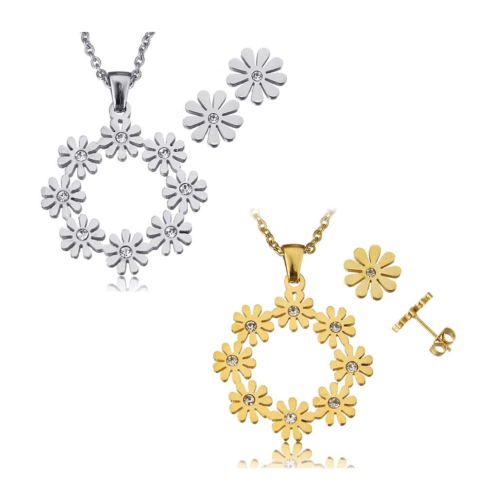 Yyw rhinestone stainless steel jewelry sets lovely cute stud earring