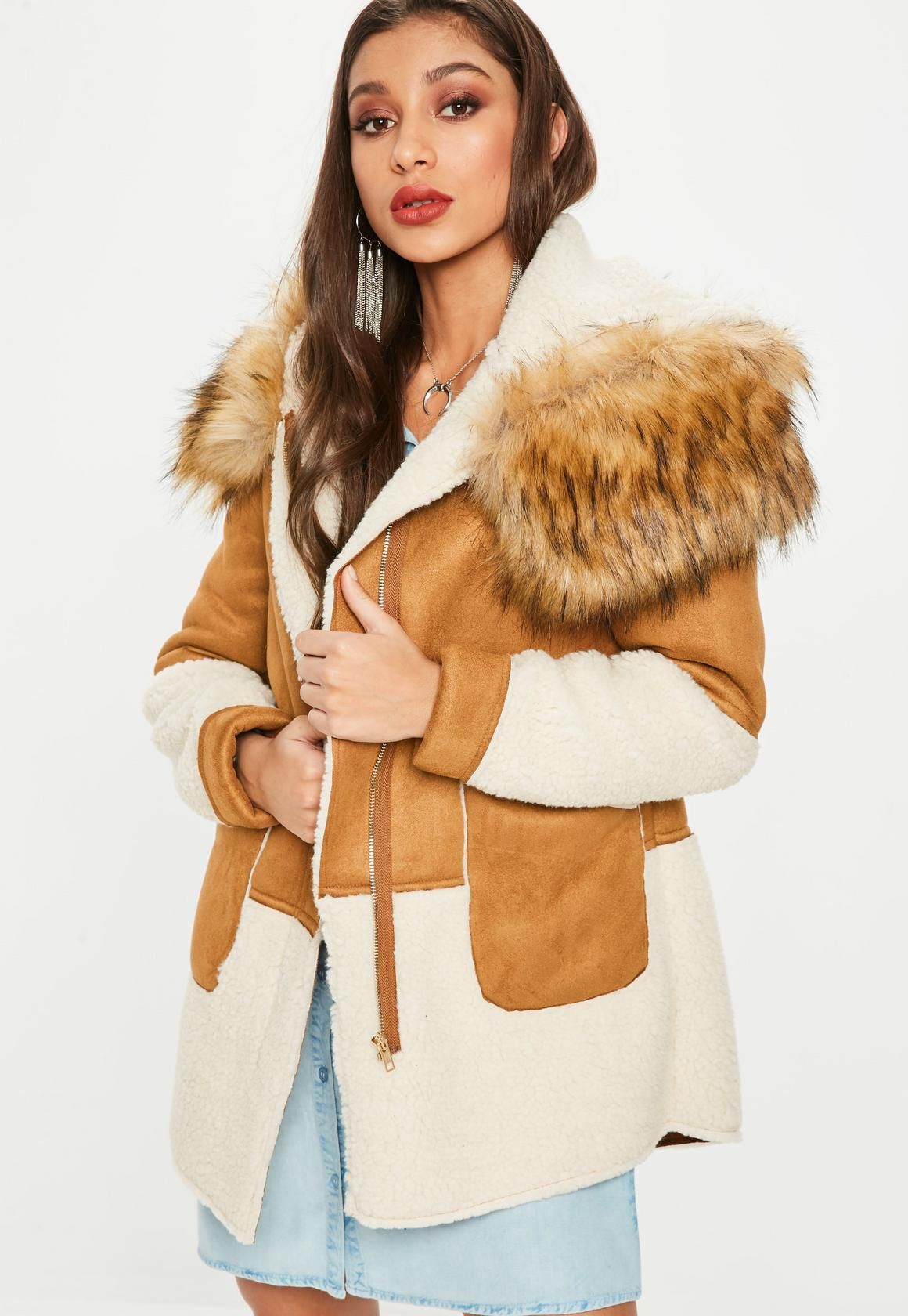 fb30c6ab5 Faux shearling jacket in a camel hue with faux fur hooded detail ...