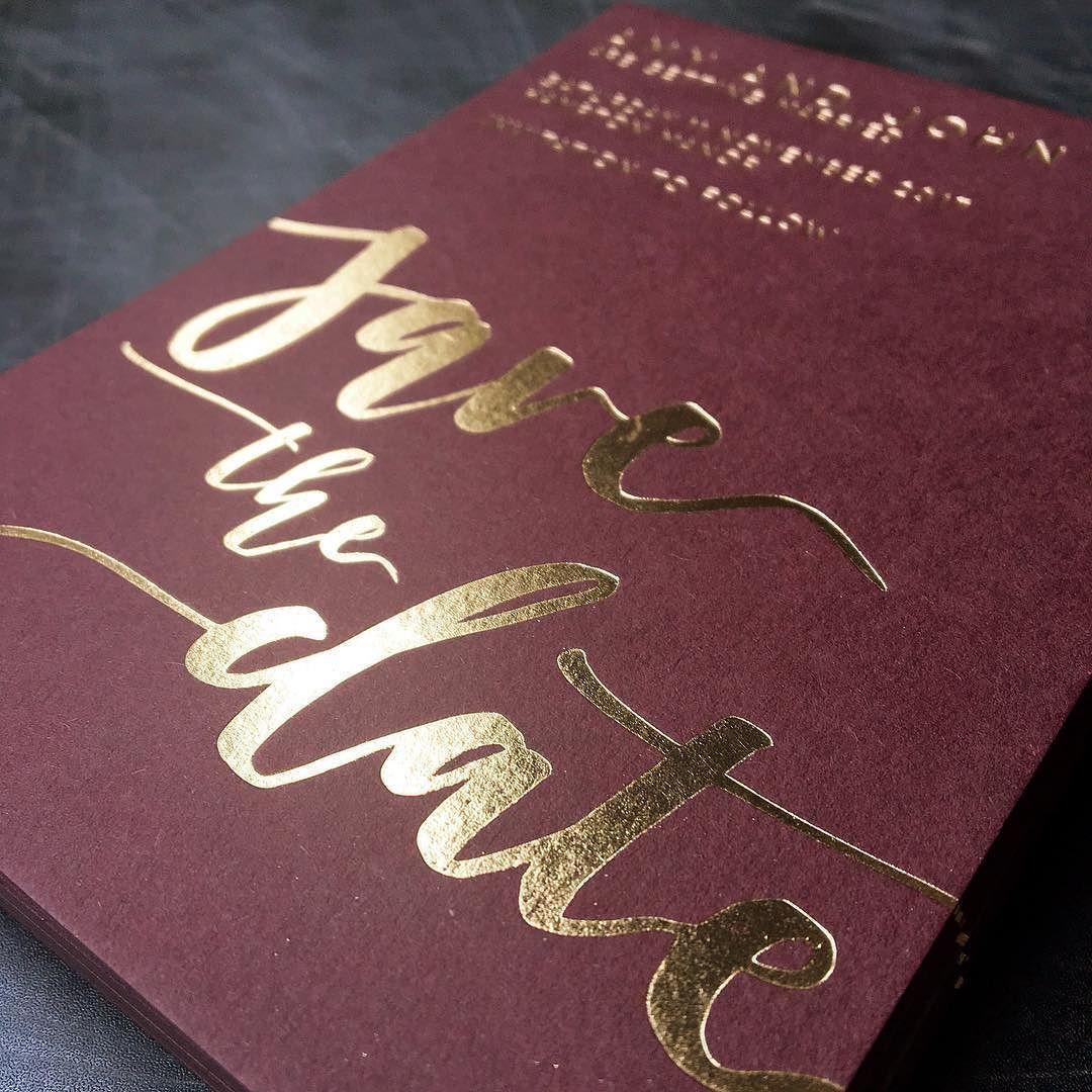 gold foil on claret masala wedding invitation | Wedding ideas ...