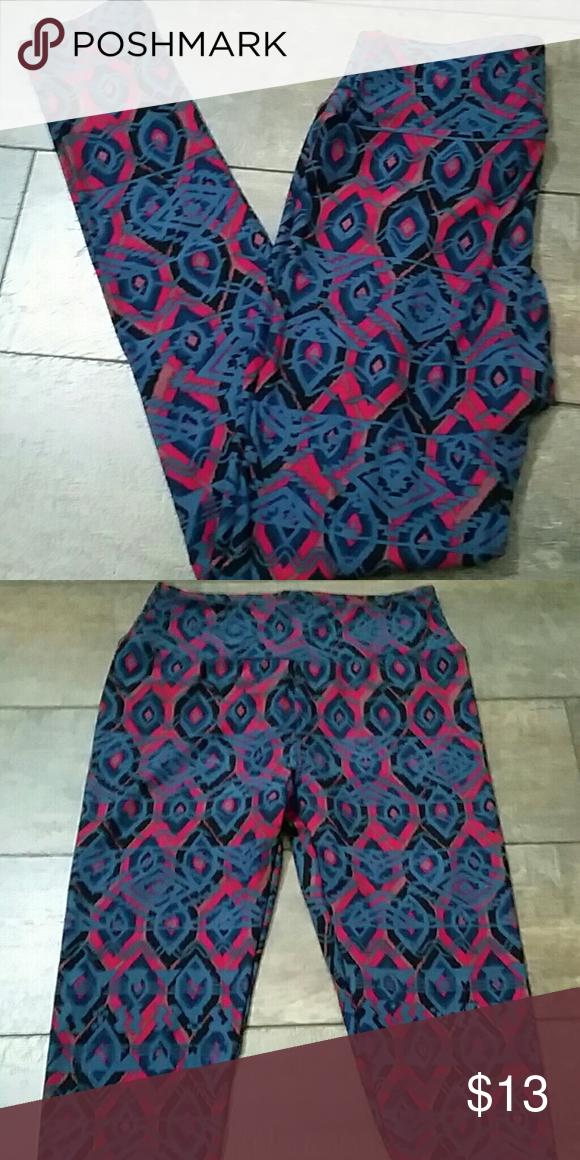 a6e38fe173b0c2 Lularoe Awesome Leggings NWOT Beautiful blue and pink colors new never  worn!! LuLaRoe Pants Leggings