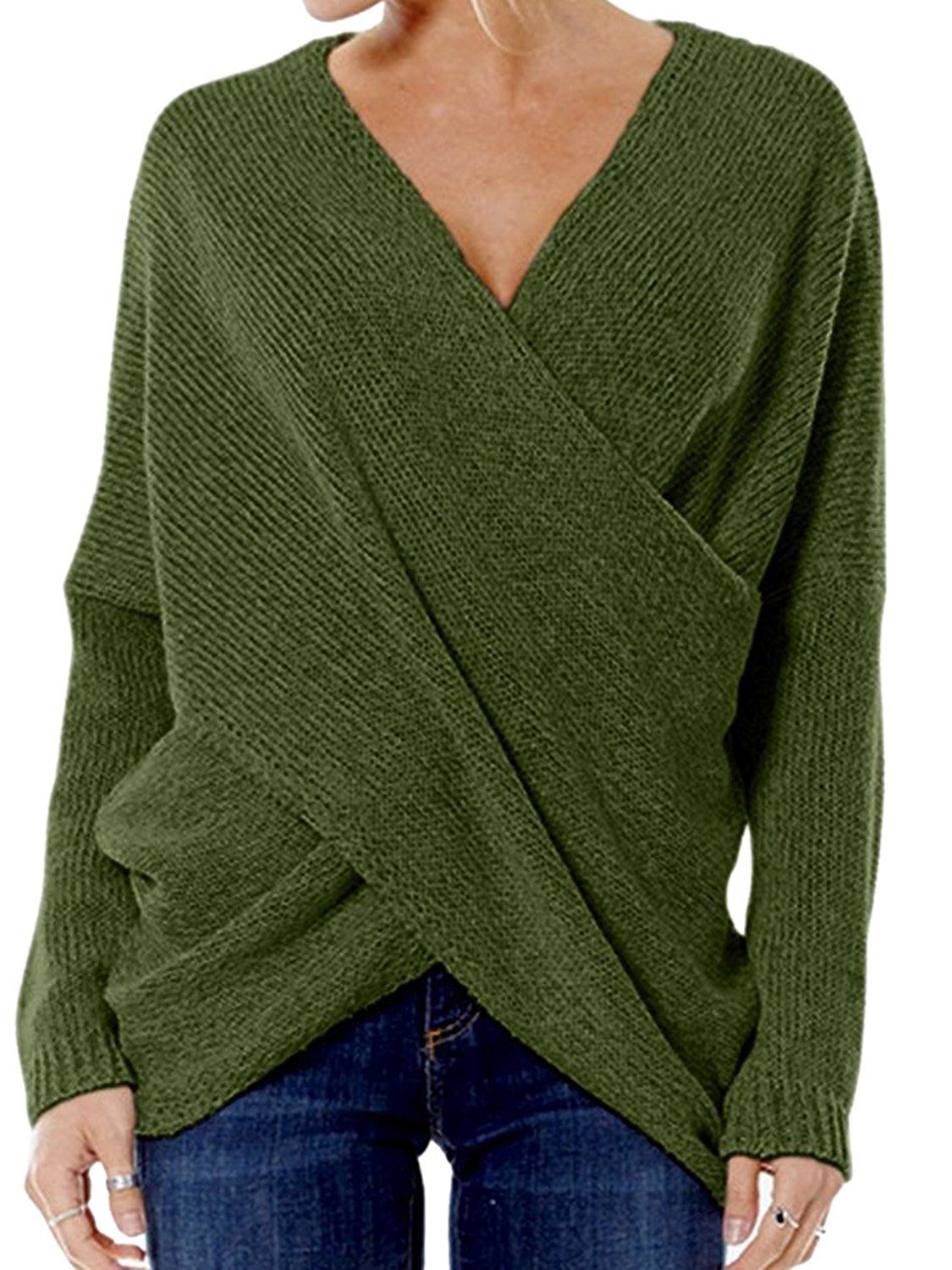 37a37ac237 Choies Women s Army Green Criss Cross Wrap Front V Neck Long Sleeve Knit  Sweater Jumper l at Amazon Women s Clothing store