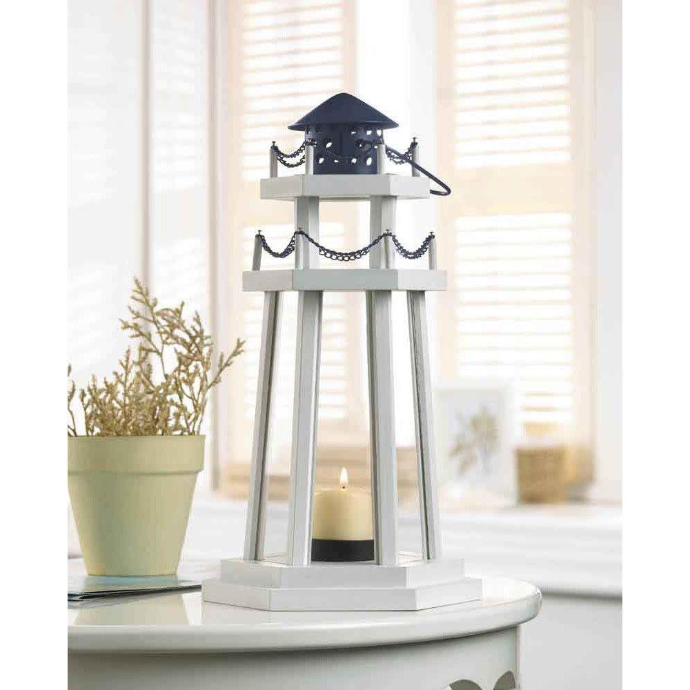 12 Nautical Lighthouse Wooden Lanterns Beach Wedding Centerpieces ...