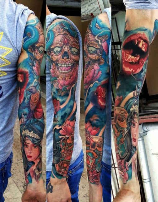colorful tattoo full arm tattoo tattooed tattoos tattoo ideas pinterest. Black Bedroom Furniture Sets. Home Design Ideas