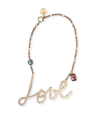 J8715 Lanvin Love & Crystal Pendant Necklace