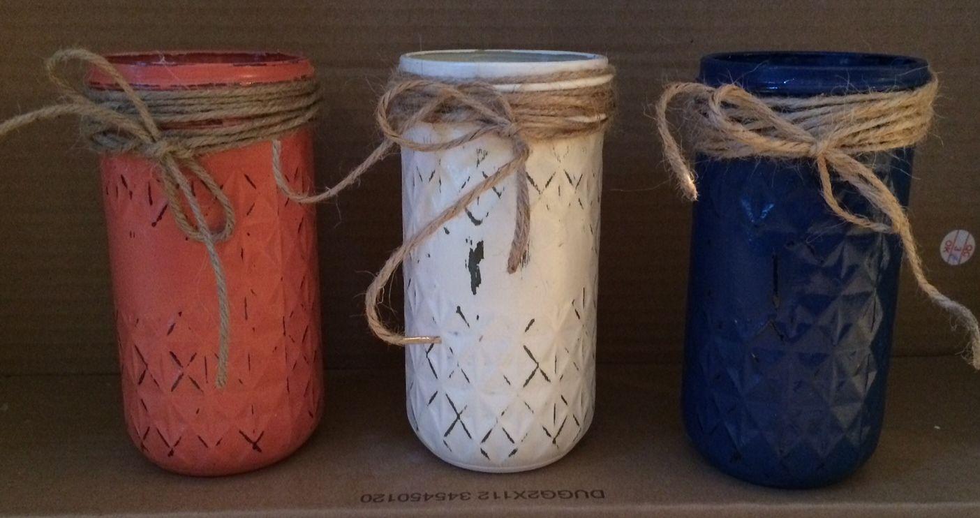 Hand painted and decorated mason jars crafts mason jars - Cuadros shabby chic ...
