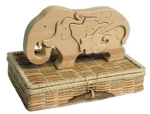 'I puzzled over a puzzle of an elephant composed only of elephants.' by Shigeru Kobayashi, Ginga Kobo Toys #Puzzle #Elephants #Shigeru_Kobayashi #Ginga_Kobo_Toys