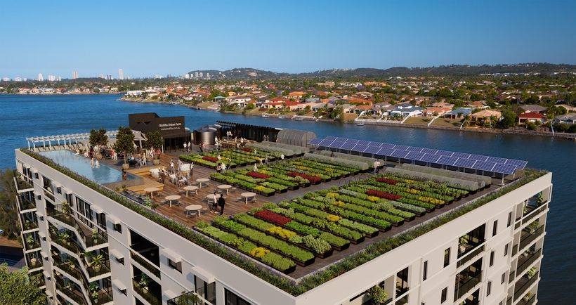 Urban Rooftop Farm Powered By Rainwater And Composted Food Waste Roof Garden Luxury Garden Roof Architecture