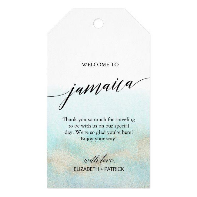 Aqua Gold Beach Welcome to Jamaica Wedding Gift Tags