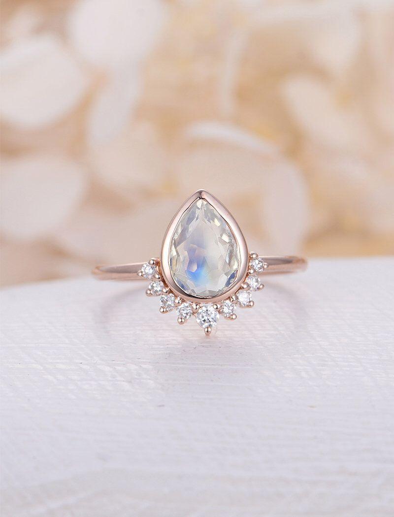 Unique engagement ring rose gold moonstone engagement ring vintage