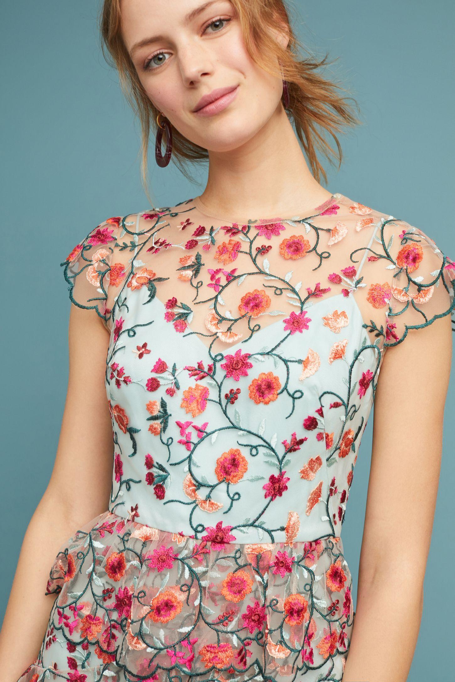 5f7de79e8dd Slide View  3  ML Monique Lhuillier Garden Party Embroidered Dress