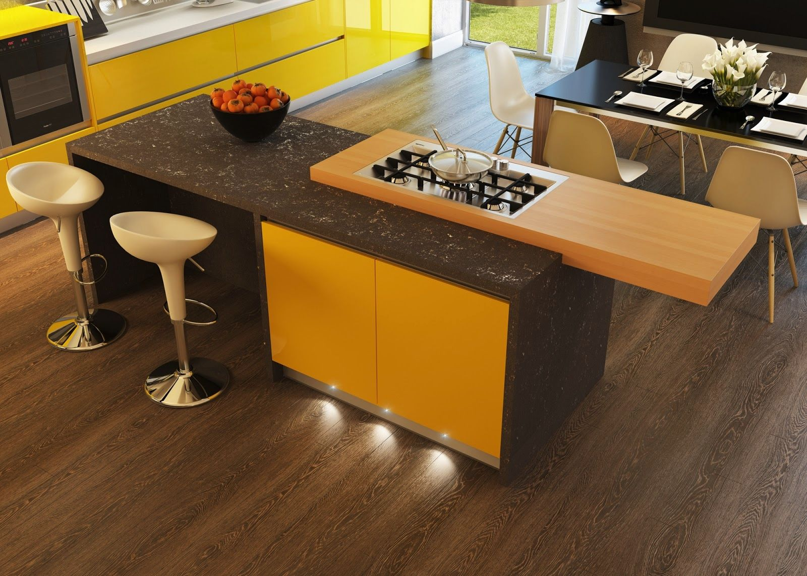 kitchen design with gas stove on top wooden kitchen table and