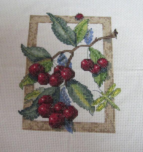 Cross Stitch Cherries 11x8 by Kitkateden on Etsy, $10.00