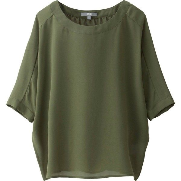 dde6164dad377e UNIQLO Women Georgette Short Sleeve Blouse ($20) ❤ liked on Polyvore  featuring tops, blouses, shirts, short sleeve dolman top, green shirt,  uniqlo, ...
