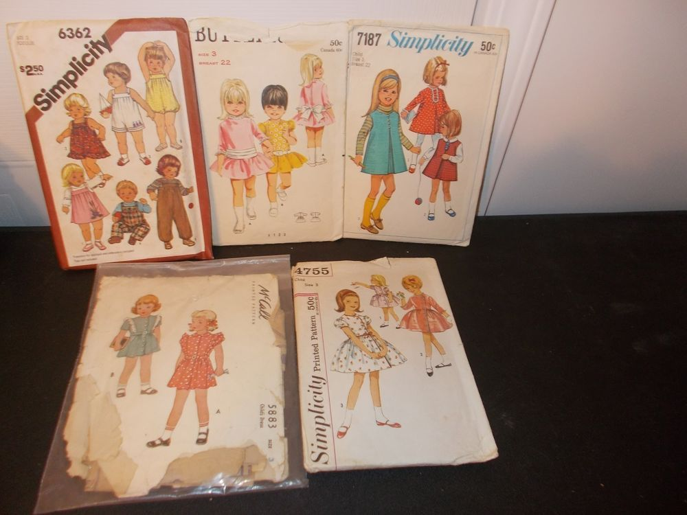 Inventory 29 Lot of 5 Vintage Patterns Childs size 3 Girl
