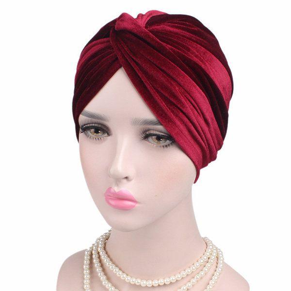 b25998c0c12 Women Velvet Cross Beanie Hats Casual Flexible Warm Cancer Chemo Turban Caps