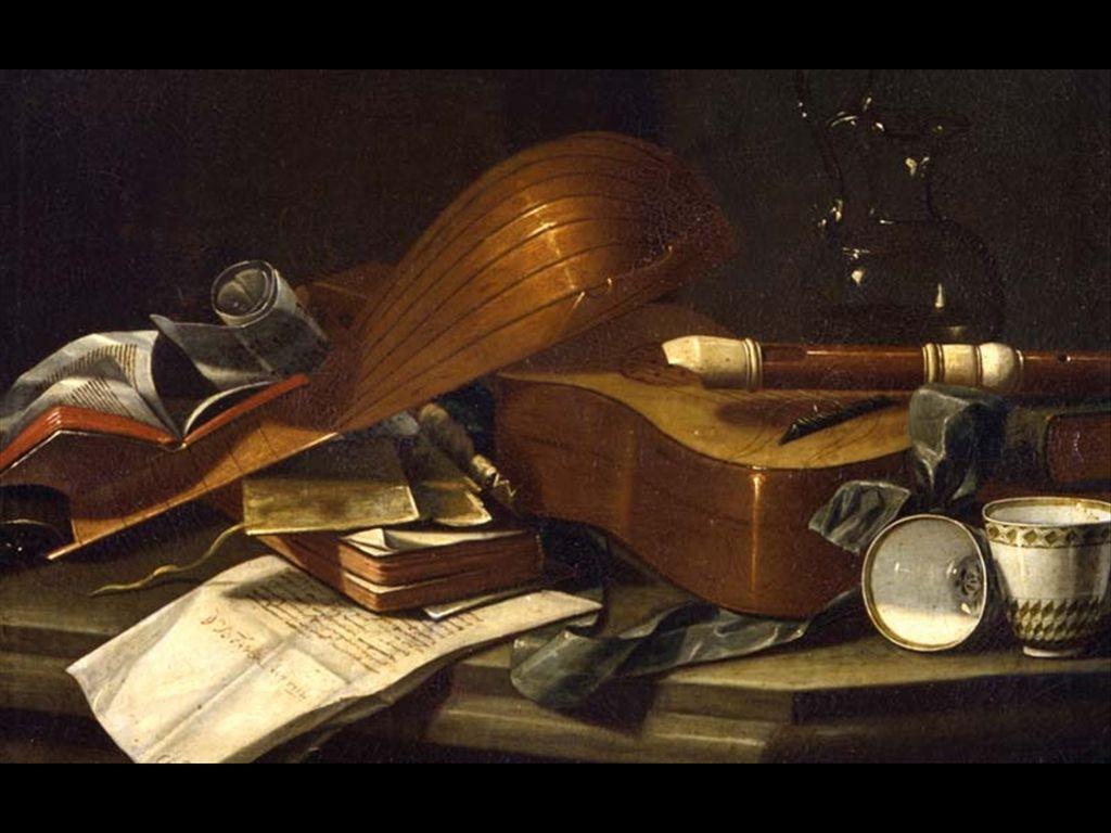 cristoforo munari, natura morta con strumenti musicali