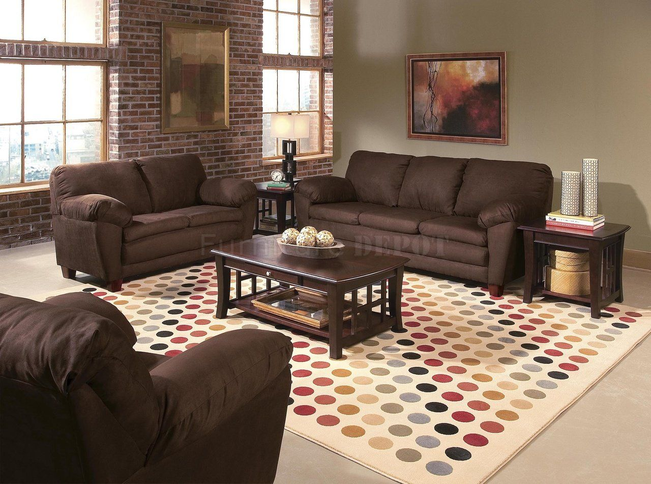 Living Room Charming Design With Brown Couch Exposed Brick Wall Sides Color Schemes