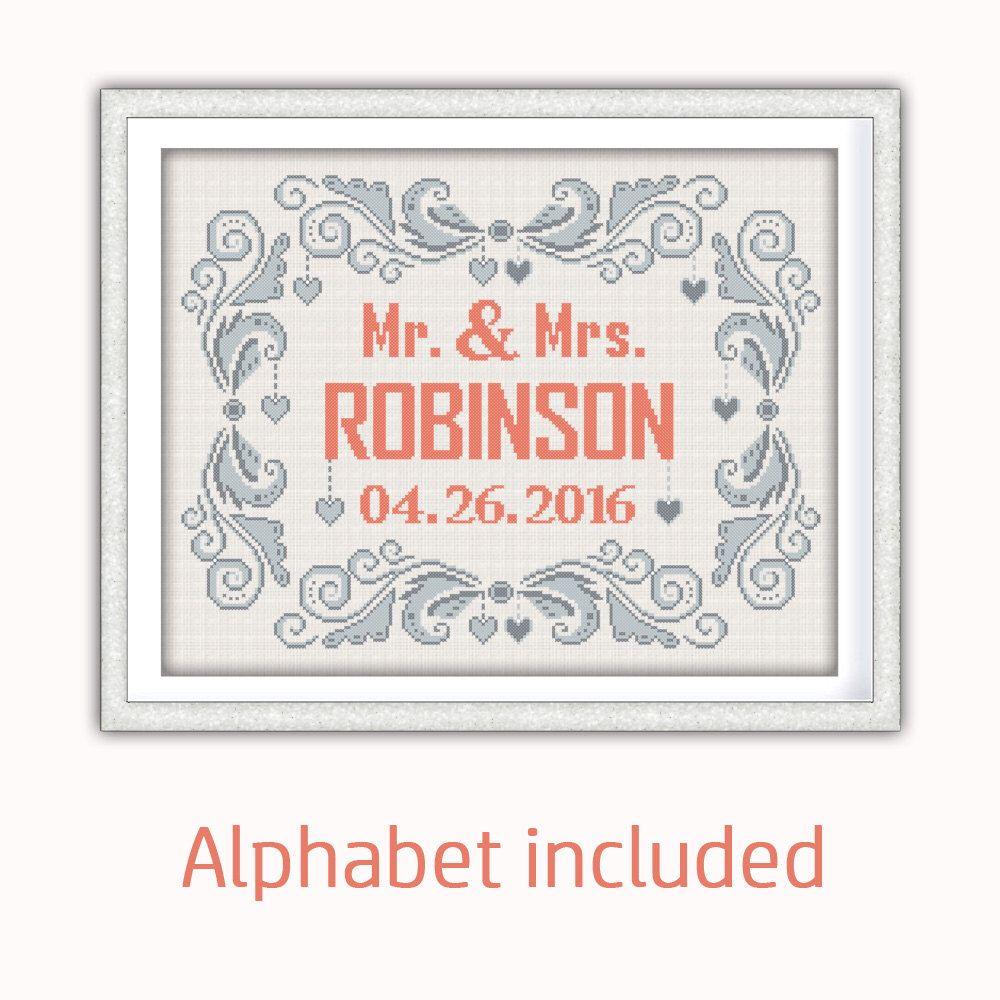 Buy 2 get 1 free. Modern Wedding cross stitch pattern, customizable ...