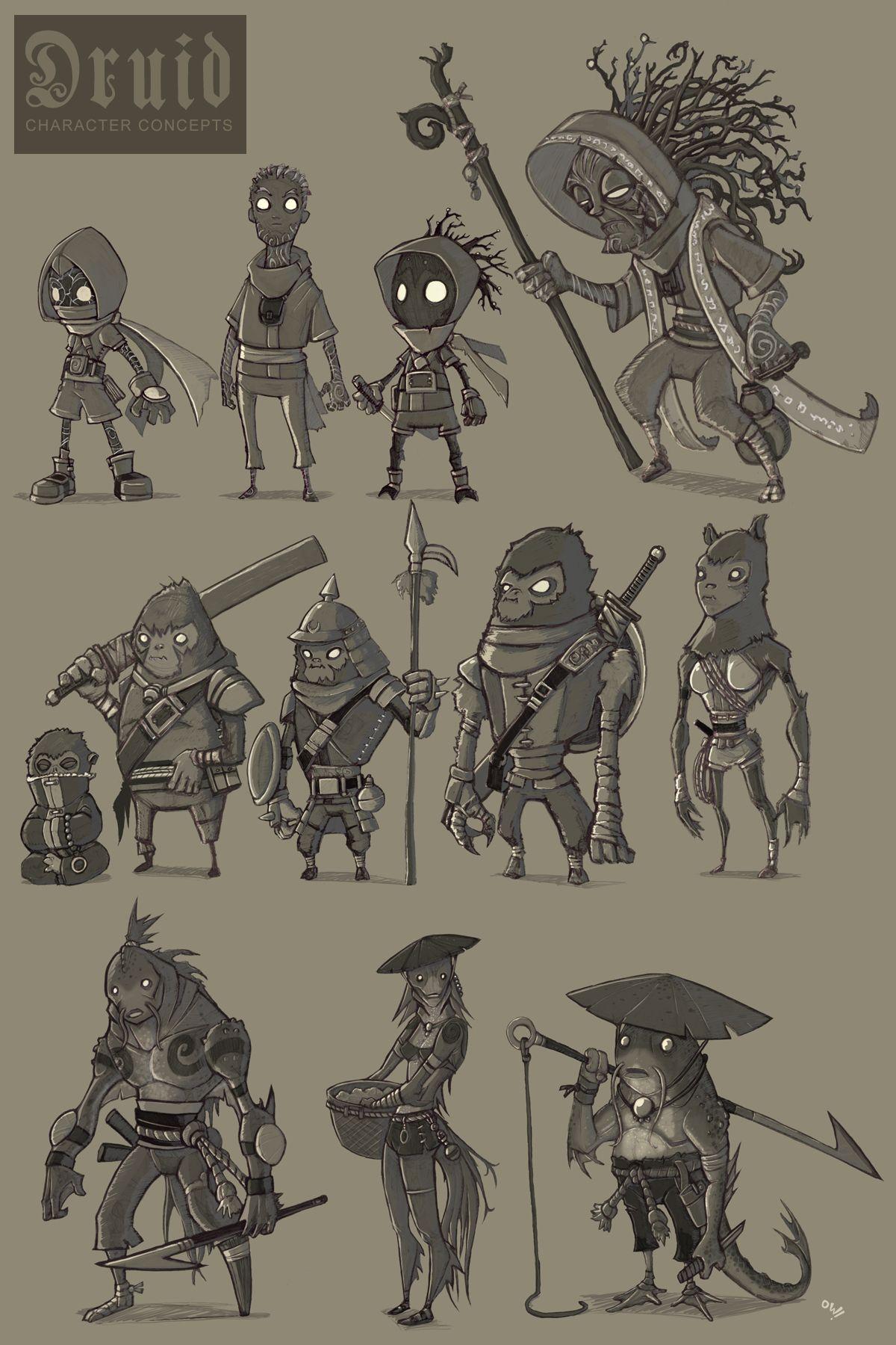 Cartoon Character Design Concept : Druid character concepts by elbrazo viantart on