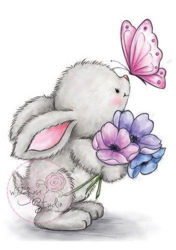 Clear Stempel Bunny And Butterfly Leuke Tekeningen Pinterest