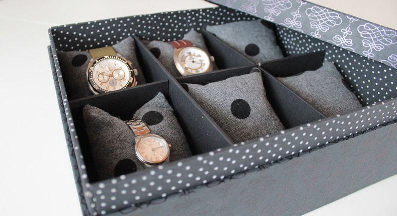 Diy Cartonnage Fabriquer Une Boite A Montres Ou A Bijoux Boite A Montre Cartonnage Customiser Boite Carton