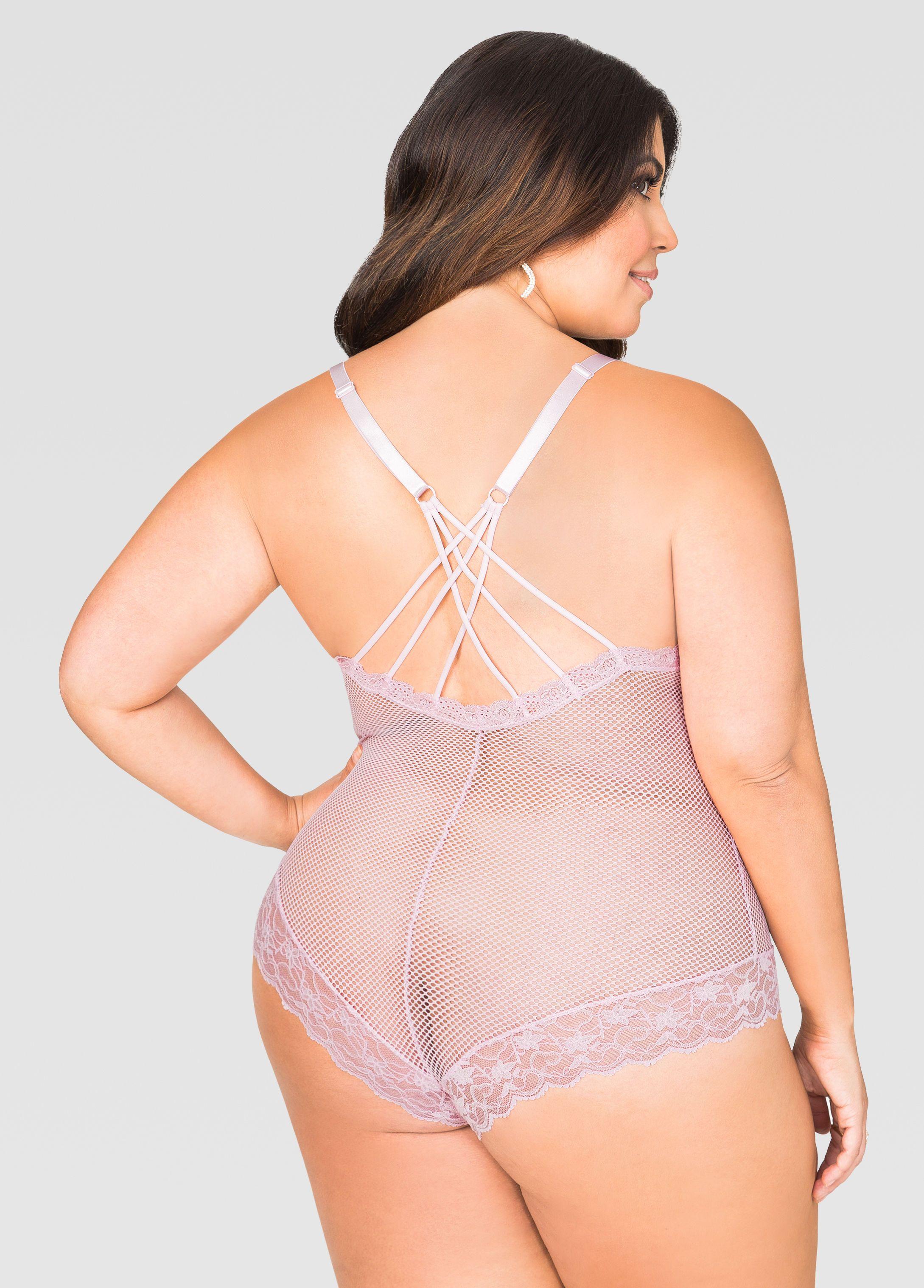 bd57374b536 Mesh N  Lace Teddy Lingerie Bodysuit - Ashley Stewart
