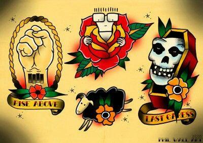 Punk Rock Tattoo Flash Love Black Flag Tattoo Old School Tattoo Punk Tattoo