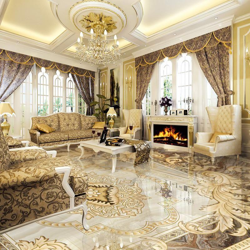European Style 3d Floor Tiles Mural Marble Wallpaper Living Room Hotel Wear Non Slip Waterproof Floor Wallpaper Living Room Luxury Wallpaper Luxury Living Room