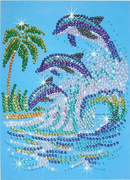 Kit créatif Sequins et Couleurs dauphins